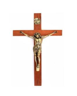 Crucifixo de Parede Madeira/Bronze B33 – 63x33cm